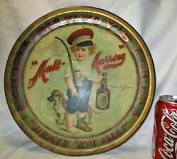 Antique Mcavoyand039s Malt Marrow Tin Metal Litho Tray Sign 1899 Beer Art Brewing Dog