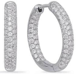1.07ct Diamond 14kt White Gold 3d 3 Row Pave Inside Out Hoop Hanging Earrings