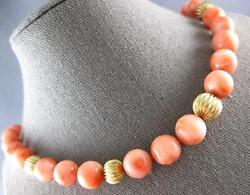 Estate Large And Long Aaa Coral 14k Yellow Gold 3d Graduating Bead Necklace 27218