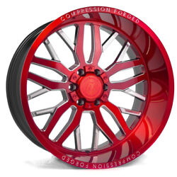 24 Inch 24x12 Axe Forged Ax1.2 Candy Red Wheels Rims 8x170 -44