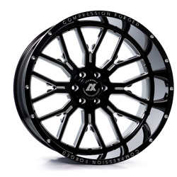 24 Inch 24x12 Axe Forged Ax6.0 Black Milled Wheels Rims 6x135 -44