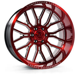 24 Inch 24x14 Axe Forged Ax6.2 Candy Red Wheels Rims 8x6.5 8x165.1 -76