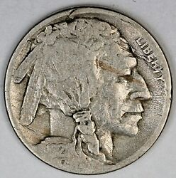 1921-s United States Buffalo Nickel - G+ Good Plus Condition - Planchet Flaw
