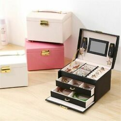 Makeup Holder Cases Jewelry Box With Lock For Women Leather Stud Organizer Rings