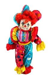"""Vintage Clown Jester Doll- 18"""" W. Metal Stand-bisque Head/hands/shoes-red Hair"""