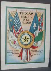 Centennial Celebration Pictorial History Of Texas Under Six Flags 1933 Van Camp