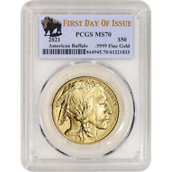 2021 American Gold Buffalo 1 Oz 50 - Pcgs Ms70 First Day Of Issue Buffalo Label