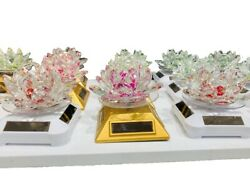 Solar Power Rotating Crystal Glass Lotus Flower Statue As A Gift / Ownerment
