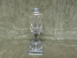 Circa 1830and039s Sandwich Glass Clear Six Panel Lemon Squeezer Foot Whale Oil Lamp