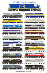 Csx Proposed Heritage Locomotives 11x17 Poster By Andy Fletcher Signed