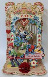 Victorian Antique Vintage Germany Diecut Fold-out Floral Valentines Day Card