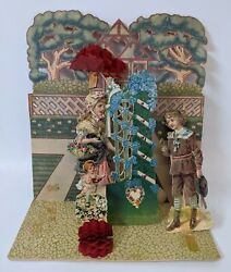 Victorian Antique Vintage Germany Diecut Foldout Courting Couple Valentines Card