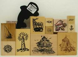 13 Nautical Rubber Stamps Psx K-2778 Thomas Point Lighthouse +boats Beach Shells