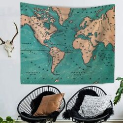 World Map Tapestry Hippie Wall Hanging Indian Vintage Bedspread Home Art Decor