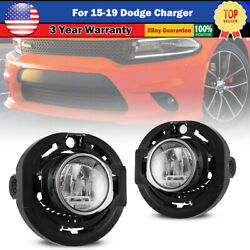 Led Fog Lights For 15-19 Dodge Charger 14-16 Jeep Grand Cherokee Lamp Clear Landr