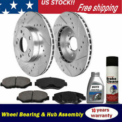 Front Drilled Brake Rotors + Ceramic Brake Pads For Acura Cl Tl Tsx Honda Accord