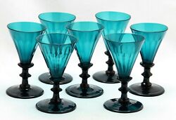 7x Antique, Early 19th C White Wine Glass Turqoise / Petrol / Blue Green Crystal
