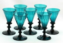 7x Antique Early 19th C White Wine Glass Turqoise / Petrol / Blue Green Crystal