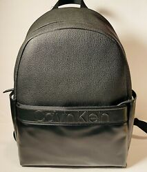 Calvin Klein CK Business Casual Zip Laptop Backpack Black Leather BRAND NEW $78.54