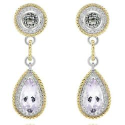 Large 10.40ct Diamond And Aaa Amethyst 14kt 2 Tone Gold Tear Drop Hanging Earrings