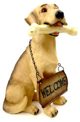 Novelties And Gifts 1256803goldretr 15 Resin Golden Retriever With Welcome Sign