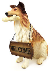 Novelties And Gifts 1256803collie 15 Resin Collie With Welcome Sign