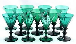 11x Antique, Early 19th C White Wine Glass, Bristol / Bluish Green Crystal