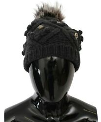Dolce And Gabbana Hat Gray Cashmere Fur Crystal Winter Beanie Cap One Size 1650