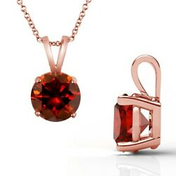 3 Carat Real Fancy Red Diamond 14k Rose Pink Gold Solitaire Pendant Necklace