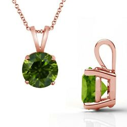 2.5 Carat Real Fancy Green Diamond 14k Rose Pink Gold Solitaire Pendant Necklace