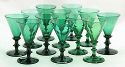 12 X Antique 18th C White Wine Glass Ca.1780 Holland, Green Crystal