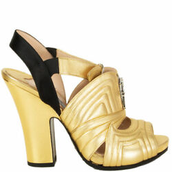 62387 Auth Prada Metallic Gold Leather Quilted Block Heel Sandals Shoes 36.5