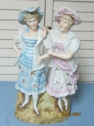 Antique Bisque Victorian Women In Bathing Dresses And Hats Perfect Beach House Dec