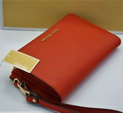 ❤️NWT Michael Kors Jet Set Travel Double Zip Leather Phone Wristlet in Flame Red $58.00