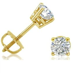 2mm White Sapphire Screw Back Round Stud Earrings In Yellow Gold Over Sterling