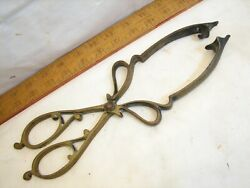 Antique Cast Brass Embers Tongs Coal Bed Warmer Tool Fancy Victorian Fire Place