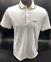 Hugo Boss Polo For Men Stretch cotton mix polyester Regular fit Color White $36.99