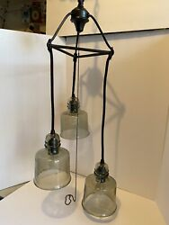 Vintage Swag Light Fixture Hanging 3 Tier Light Lamp Pendent Tinted Glass Globes