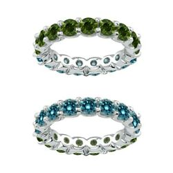 2 Carat Blue And Green Real Diamond Reversible Eternity Ring Band 14k White Gold