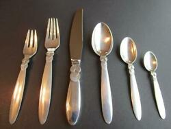 Georg Jensen Cactus Sterling Silver Flatware Dinner Set 6p Post 1945 Excl