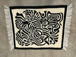Vintage Mid 20th Century South African Zebra Woven Mohair Tapestry