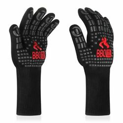 Nonslip Bbq Grill Gloves Extreme Heat Resistant Durable Silicon Insulated Mitten