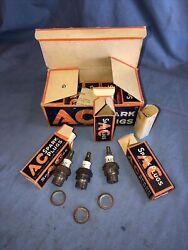 10 Ac Racing G 18mm Vintage Antique Spark Plugs Nos W - Box Offenhauser Ford