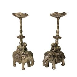 Chinese Pair Silver Color Mixed Metal Elephant Candle Holder Figures Ws1166