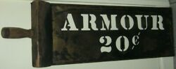 Antique Interesting Copper And Wood Stensil/sign Armour 20 Cents Maine Advertising