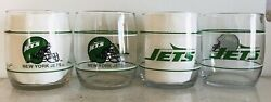 New York Jets Set Of 4, 13.5oz Drinking Glasses. Shell Gas 1990's Promotion