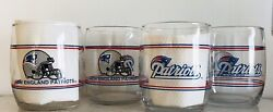 Nfl Patriots Set Of 4, 13.5oz Drinking Glasses. Shell Gas 1990's Promotion