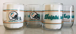 Miami Dolphins Set Of 4, 13.5oz Drinking Glasses. Shell Gas 1990's Promotion