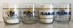 Los Angeles Rams Set Of 4, 13.5oz Drinking Glasses. Shell Gas 1990's Promotion