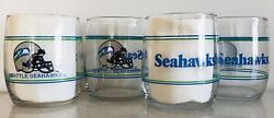 Seattle Seahawks Set Of 4, 13.5oz Drinking Glasses. Shell Gas 1990's Promotion